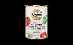 Biona Organic hakkaðir tómatar hvítlaukur & óregano 400 gr.