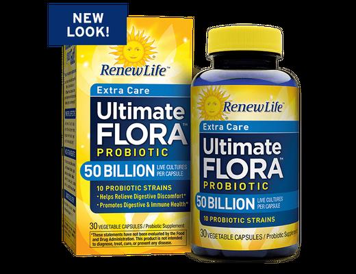 Renew Life Ultimate Flora Probiotics 50 billion 30 hylki