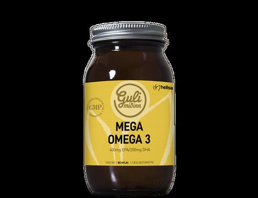 Guli miðinn Mega Omega 3, 80 hylki