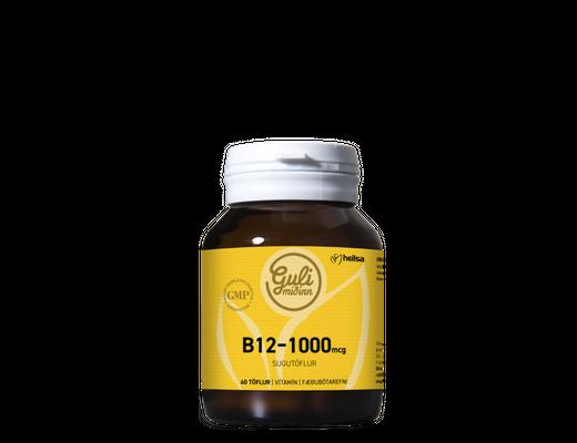 Guli miðinn B12 1000mg, 60 sugutöflur