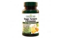 Natures Aid Ginger, Turmeric & Bromalain 60 hylki