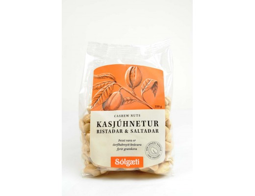 Sólgæti lífrænar Kasjúhnetur 250 gr.