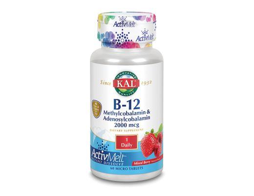 Kal Active Melts B-12 Methylcobalmin, 60 töflur