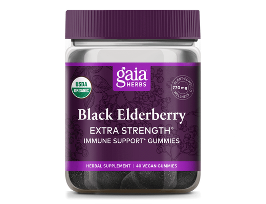 Gaia Herbs Black Elderberry Extra Strength 40 víngúmmí
