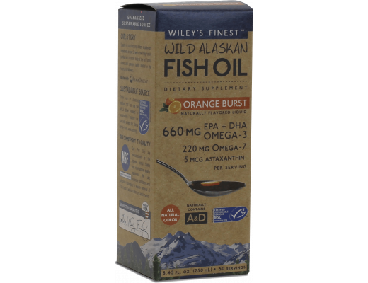 Wileys Wild Alaska Fish Oil Orange Burst 660mg, 250 ml.