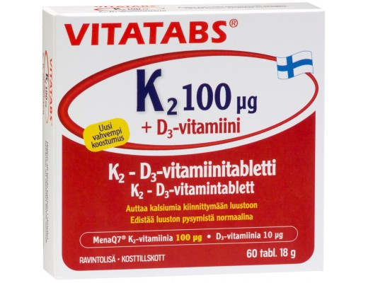 Vitatabs K2 og D3 vítamín 60 töflur
