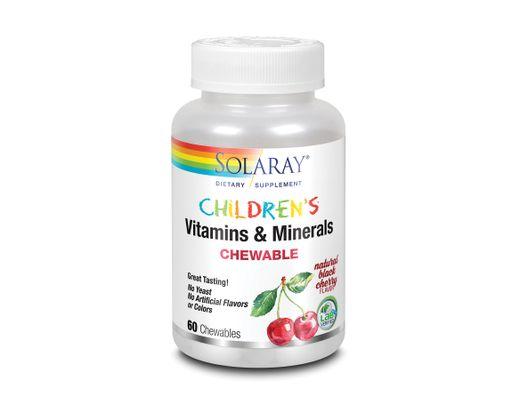Solaray barnavítamín Vitamins & Minverals 60 tuggutöflur