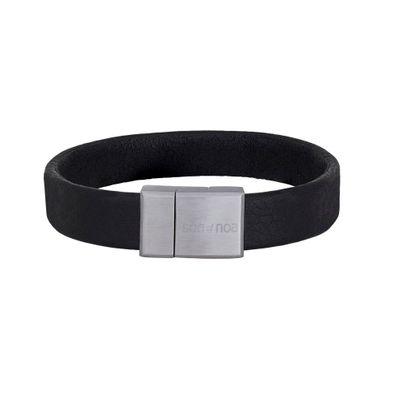 Svart leðurarmband 21 cm
