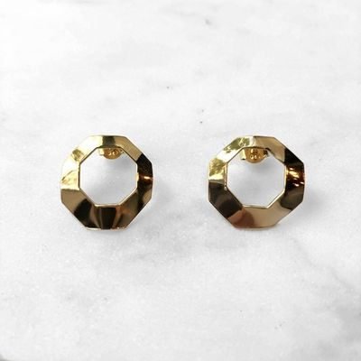 Octagon Flow Earrings Gold Plated