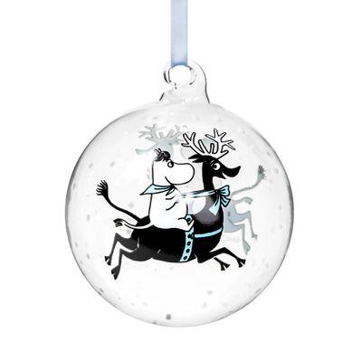 Jólakúla - Reindeer ride  - 9 cm