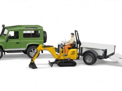Bíll, Land Rover Defender með kerru