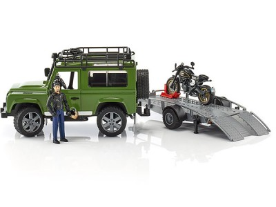 Jeppi, Land Rover með kerru og mótorhjól