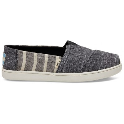 Toms youth Black Cabana stripe