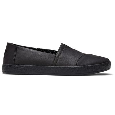 Toms avalon women Black on Black coated canvas