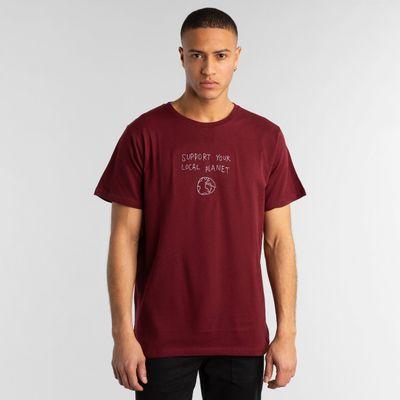 DEDICATED - T-shirt Stockholm - Burgundy local planet