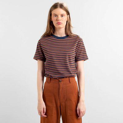 DEDICATED - T-shirt Mysen Stripes - Mocha Brown