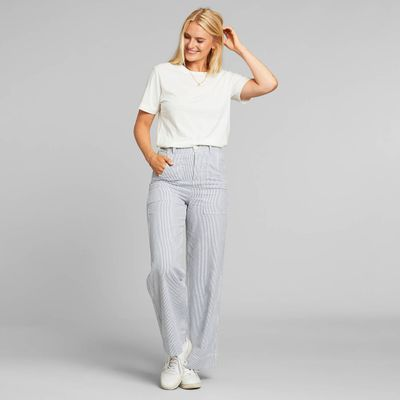 DEDICATED - Pants Vara Workwear - Thin Stripe Blue