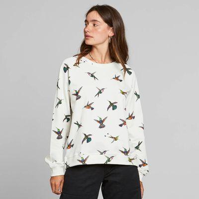 DEDICATED - Sweatshirt - Ystad Raglan -  Hummingbirds Off-White