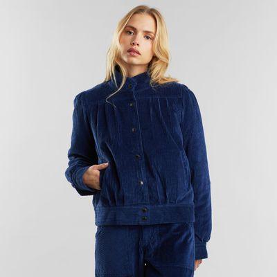 Dedicated - Padded Jacket Ljungby - Corduroy - Deep Blue