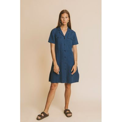 THINKING MU - BLUE HEMP - KAREN DRESS