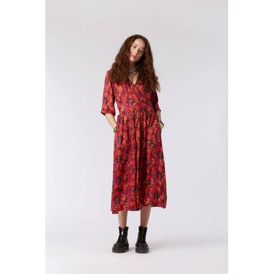 KOMODO - TENZING - Cupro Dress Himalayan Pops - Red Berries