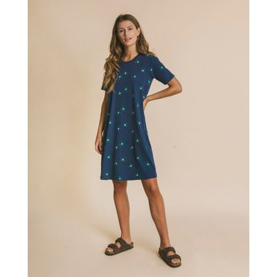 THINKING MU -  FLOWERS BLUE - OUEME DRESS