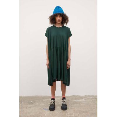 KOWTOW - GATHER DRESS - BOTTLE GREEN