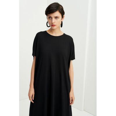 KOWTOW -  SIDE PLEAT DRESS - SVARTUR