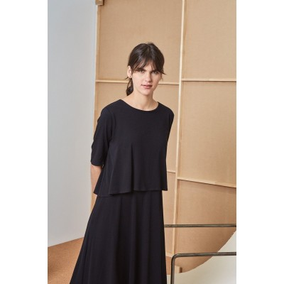 KOWTOW - DOUBLE LAYER DRESS - SVARTUR