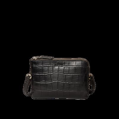 O MY BAG - Lola - Black Soft Grain & Classic Croco Leather