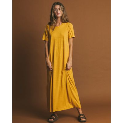 THINKING MU - MUSTARD HEMP - OUEME DRESS
