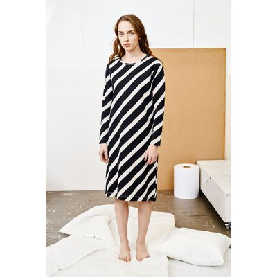 PAPU - MELLOW DRESS - Huge Stripe -  Black/Canvas Grey