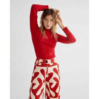 THINKING MU - RIB AINE TOP - RED
