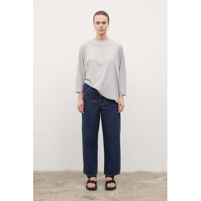 KOWTOW - RELAXED BOAT NECK TOP  - GREY MARLE