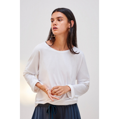 KOWTOW - BUILDING BLOCK - RELAXED LONG SLEEVE TOP - HVÍTUR