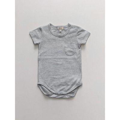 SIMPLE FOLK - The Short Sleeve Pocket Onesie - Gray Melange