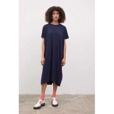 KOWTOW - SIDE PLEAT DRESS  - NAVY