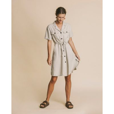 THINKING MU - STONE HEMP - KAREN DRESS