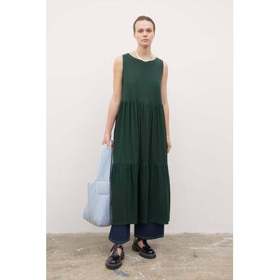 KOWTOW - TIER DRESS -  BOTTLE GREEN