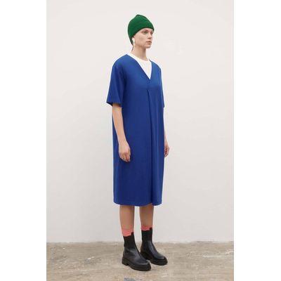 KOWTOW - V NECK PLEAT DRESS  - BRIGHT BLUE