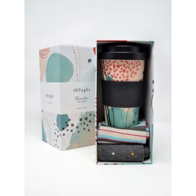 Thought Arrah Womens Bamboo Reusable Eco Coffee Cup And Socks Box
