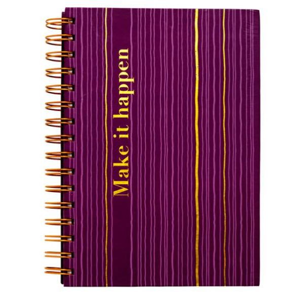 Minnisbók með gormi, A5, Stripe purple