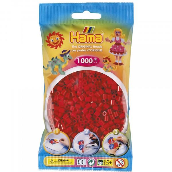 Hama plastperlur 1000 stk jólarauðar
