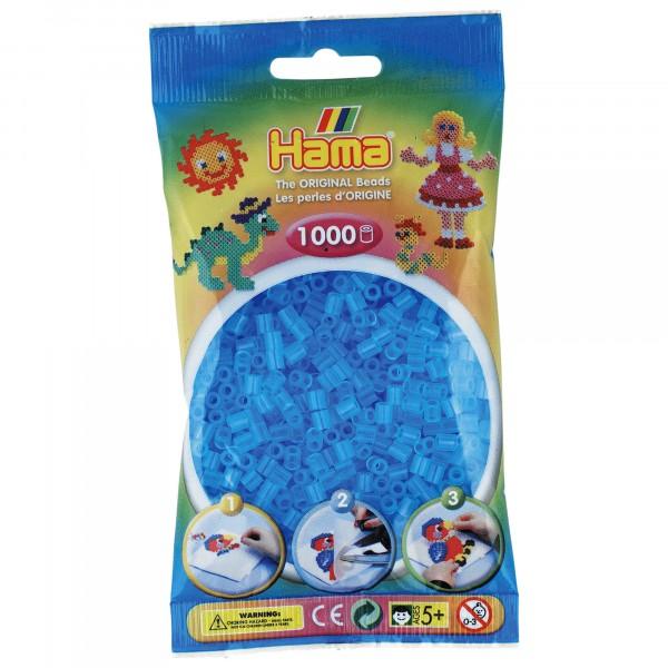 Hama plastperlur 1000 stk, glær bláar