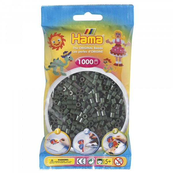 Hama plastperlur, dökkgrænar, 1000 stk