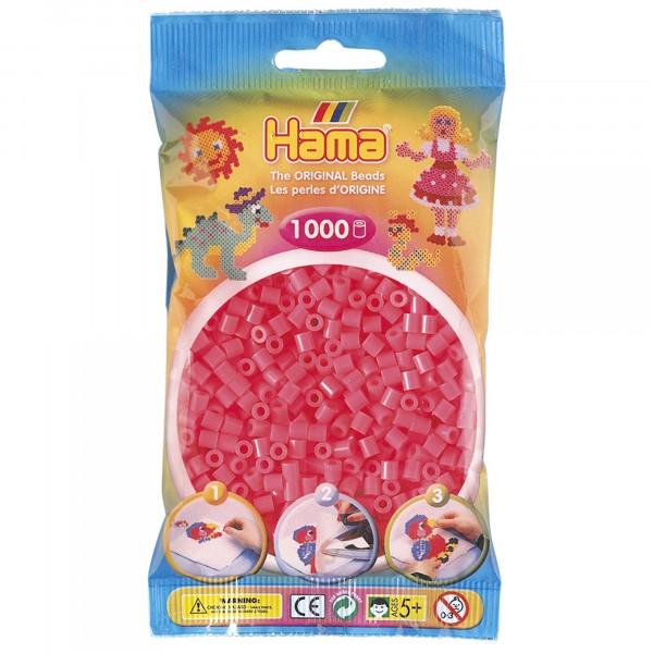 Hama plastperlur, bleikar, 1000 stk