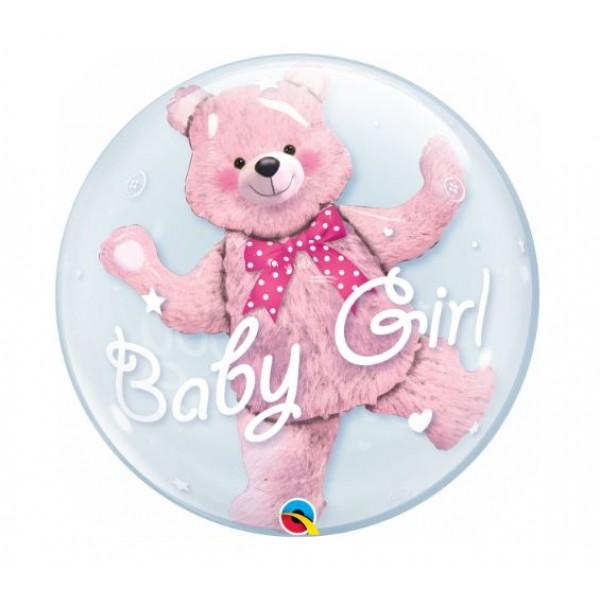 Plastblaðra, Baby Girl, bleikur bangsi