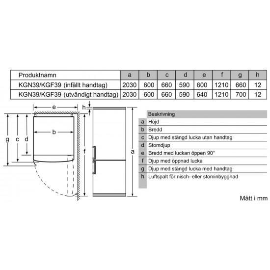 Siemens kæli- og frystiskápur