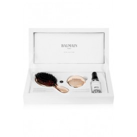 BALMAIN MINI GOLD SPA BRUSH AND MIRROR 14 KARAT GOLD