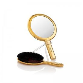 BALMAIN LIMITED EDITION 14K GOLD PLATED HAND MIRROR & SPA BRUSH